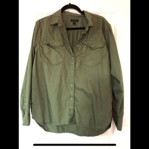 Olive green button down